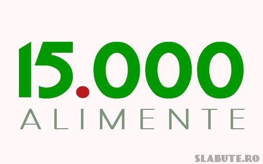 15 000 alimente Calorii.slabute.ro a depasit 15 000 de alimente!