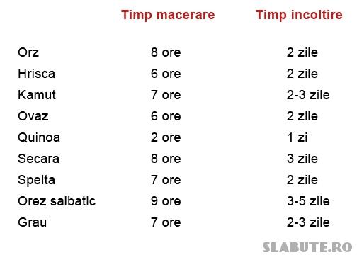 tabel cereale macerare incoltire Cereale – macerare, fermentare, incoltire (III)