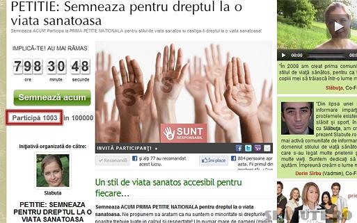 prima mie petitie SEMNEAZA ACUM Prima Petitie Nationala pentru dreptul la o viata sanatoasa