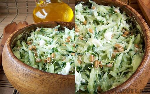 salata castraveti feta Salata de castraveti cu germeni de grau incoltiti